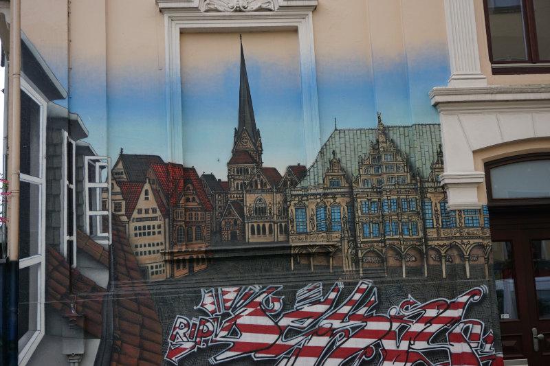 Skyline von Bremen - Streetart