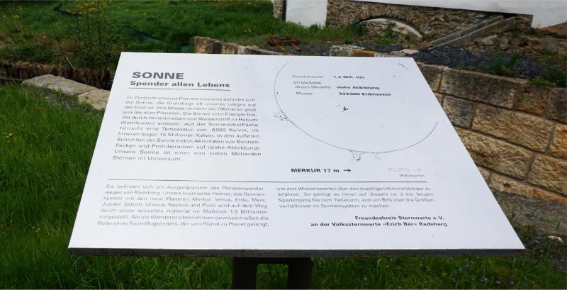 Radeberg - Planetenwanderweg Hinweisschild