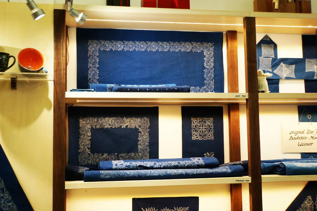 fertige Blaudruck Produkte im Erfurter Dürer Haus