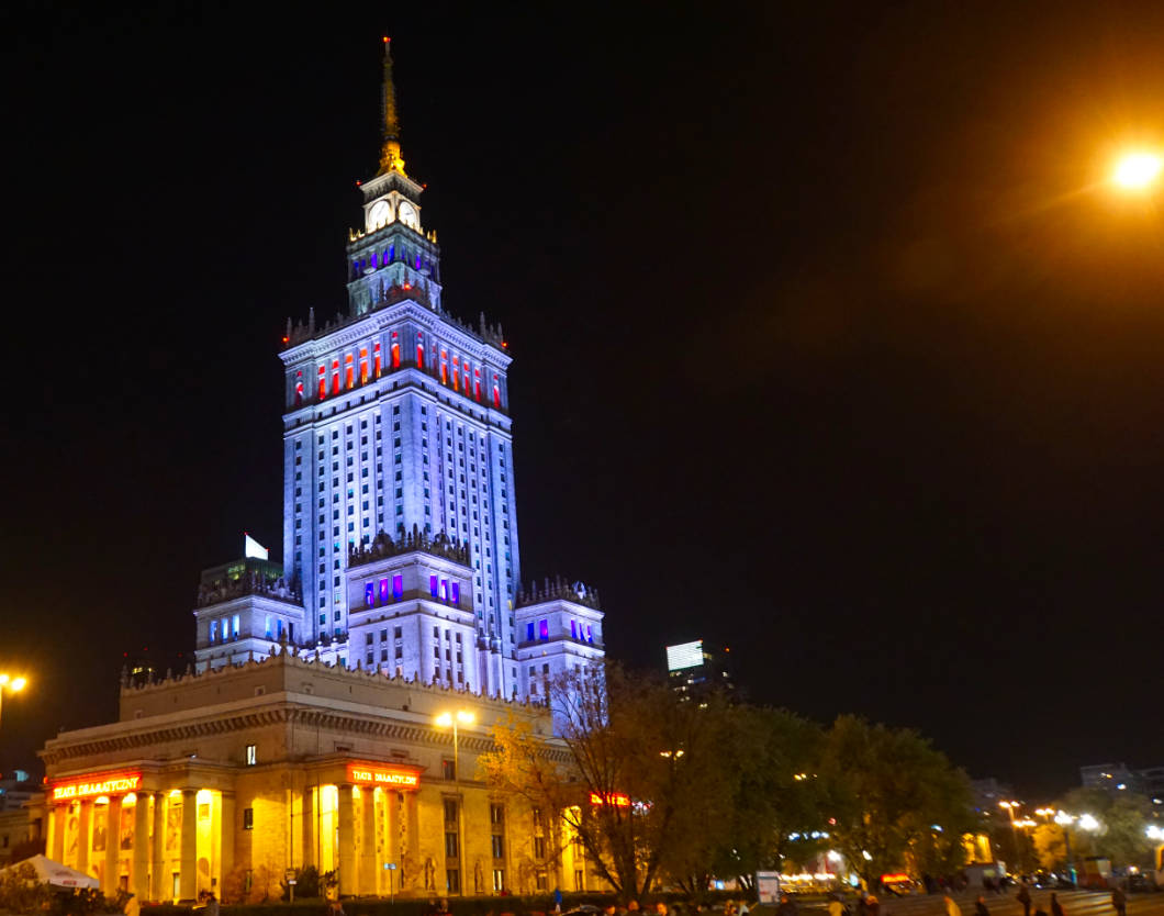 Nachtaufnahme Warschau Kulturpalast