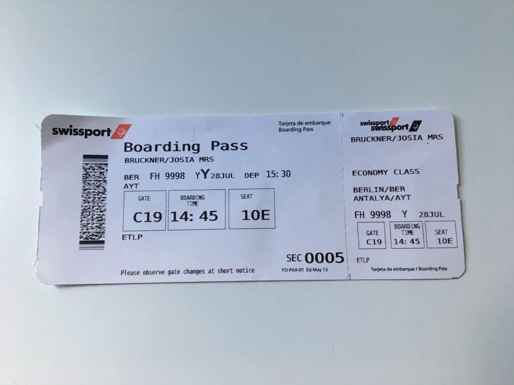 fiktiver Boardingpass