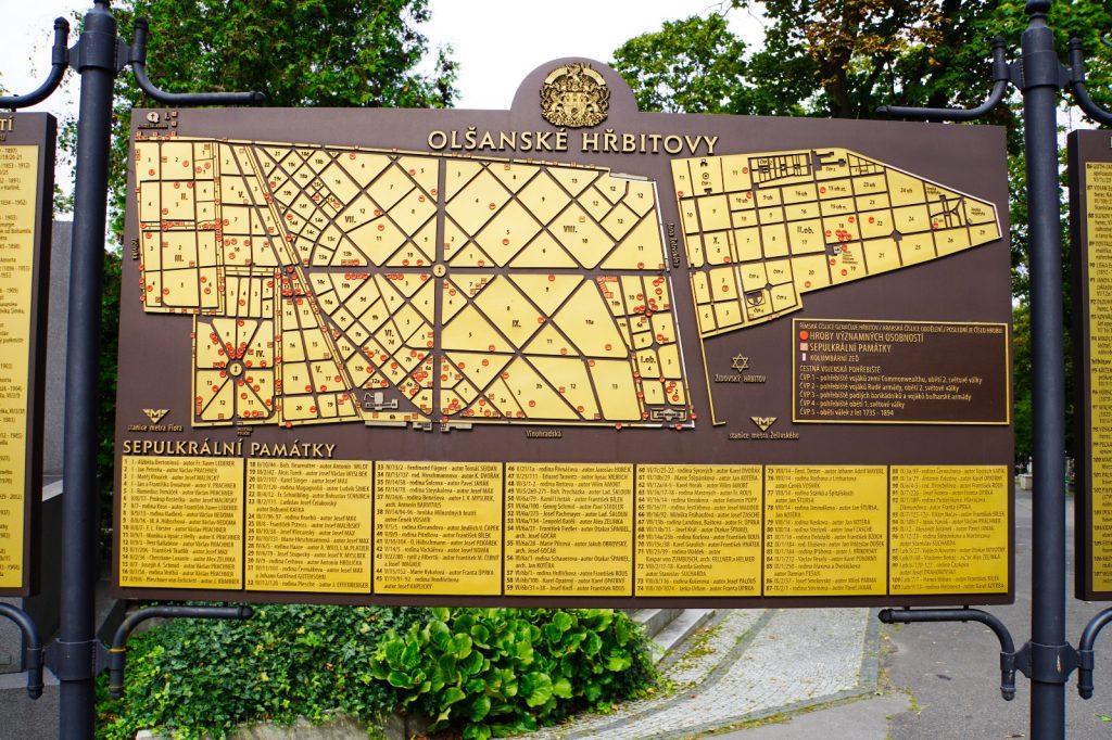 Lageplan Friedhöfe Olšany