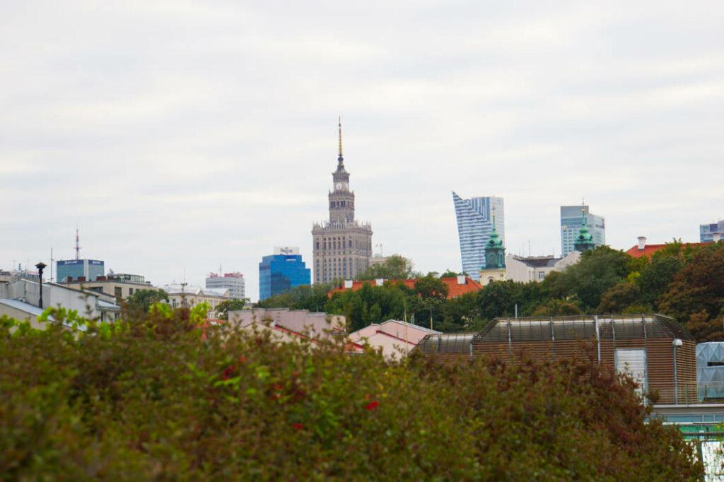 Aussicht vom Dachgarten in Warschau